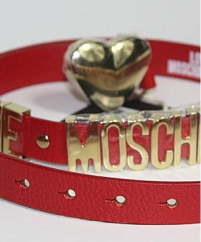 Ремень Moschino с сердцем красный