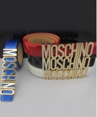 Ремень Moschino лаковый синий