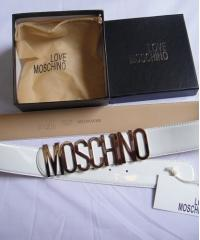 Ремень Moschino лаковый белый