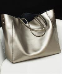 Сумка кожаная Venof Tote Bag (серебро)