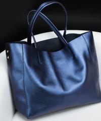 Сумка кожаная Venof Tote Bag (синяя)