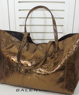 Сумка кожаная Shopper Gold