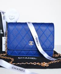 Клатч Шанель WOC Caviar Royal Blue